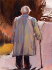 "Leaving the Scene – Old Man, Chateau, France Award Winner 9"" x 12"" oil on board"